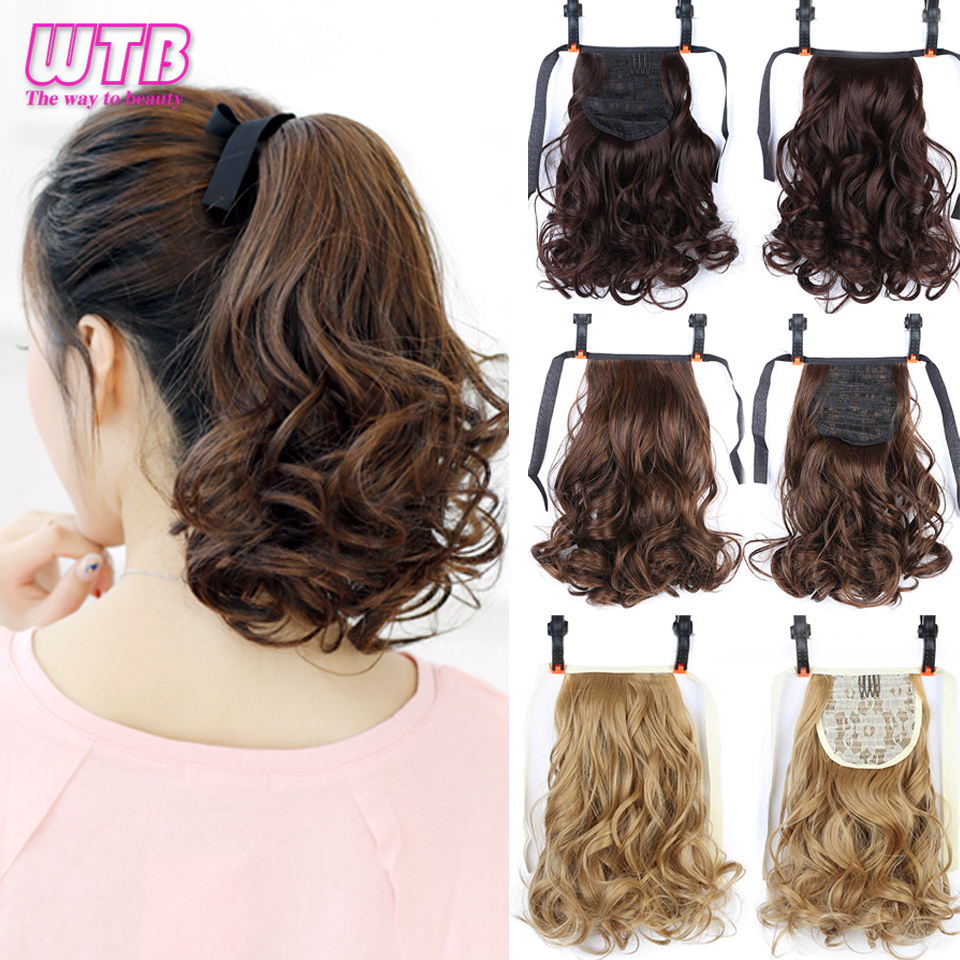 WTB Short Wavy Ponytail Heat Resistant Drawstring Hairpiece Black Brown Hair Tail Natural Synthetic Clip In Hair Extensions