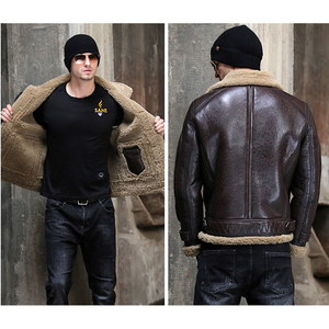 Image 5 - Thicken Real Sheepskin Coat Men Winter Warm Brown Fur Clothing 2019 New Genuine Leather Natural Sheepskin Leather Outwear