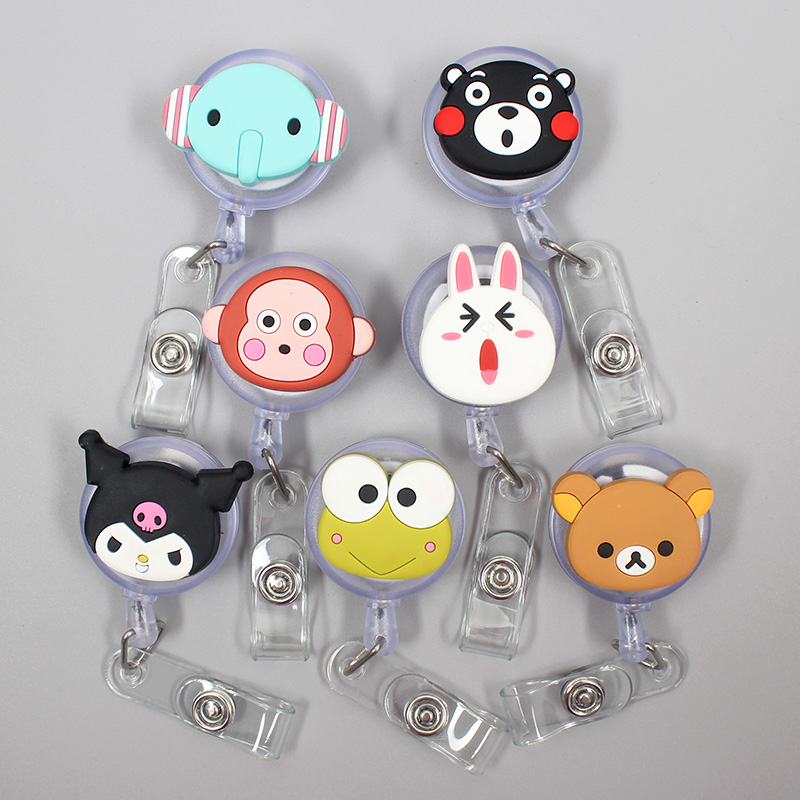 Cartoon Cute Animal Elephant Retractable Badge Holder Reel Exhibition Enfermera Student Boy Name Card Hospital Office Chest Card