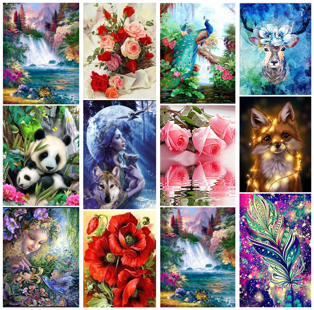 5D DIY Diamond Painting Home Animal Landscape Character Cross Ctitch Kit Wall Sticker Full Drilling Embroidery Home Decor Gift