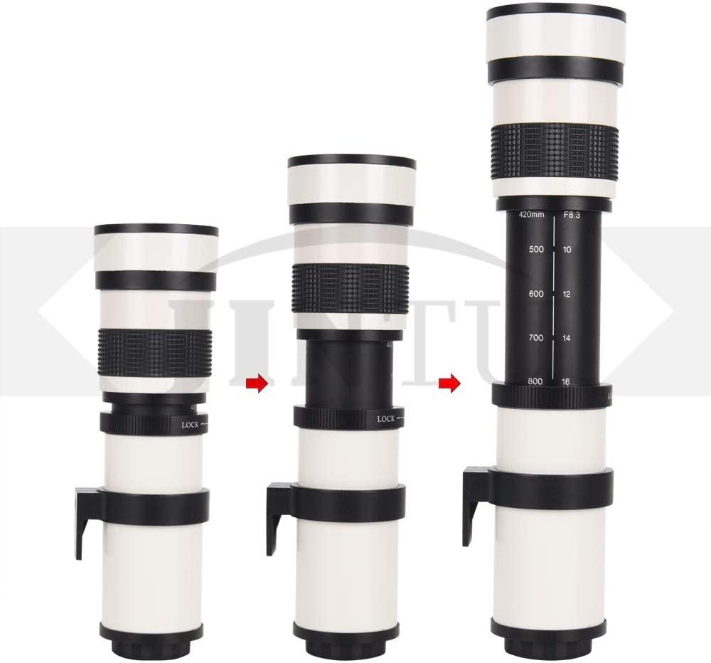 JINTU 420-800mm Manual Telephoto Zoom Lens F/8.3 for Nikon Cameras D7500 D7200 D7100 D750 D5600 D5500 D5300 D5200 D3100 D3200