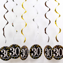 Confetti Ceiling Hanging Swirl 18 30 40 50 60th Happy Birthday Decoration Festival Party Supplies Baby Shower DIY Decorations