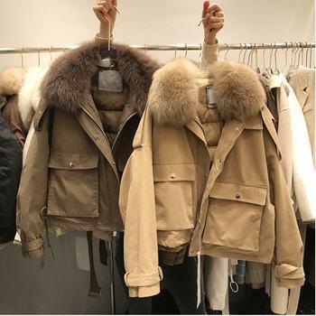 пуховик женский reebok down long jacket цвет бежевый dh1299 размер m 48 Down Jacket Winter Women's Casual Style Fox fur collar Down Jacket  пуховик женский зимний
