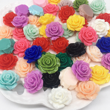 50Pcs Mixed Rose Flower Resin Beads Crafts Flatback Cabochon Scrapbooking Fit Phone Embellishments Diy Accessories