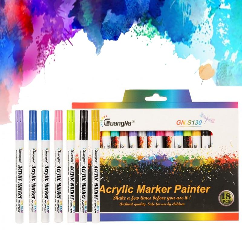 Hot 12/18 Colors 0.7mm Acrylic Paint Marker pen Art Marker Pen for Ceramic Rock Glass Porcelain Mug Wood Fabric Canvas Painting