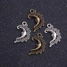 Antique Fit-Bracelets Jewelry-Making Necklace Diy Moon Charm Metal 14pcs 15--25mm