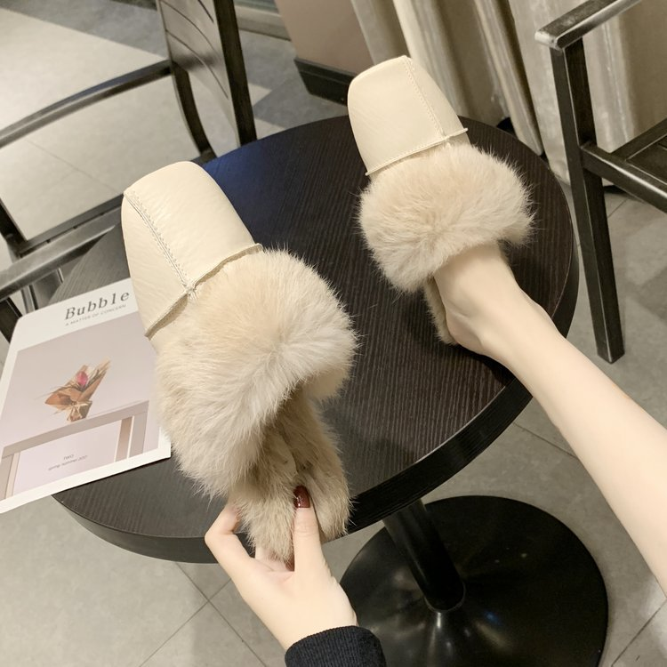 square close toe fur mules shoes flats casual rabbit hair slingback lazy slippers handmade sewing pleated leather slides female 56