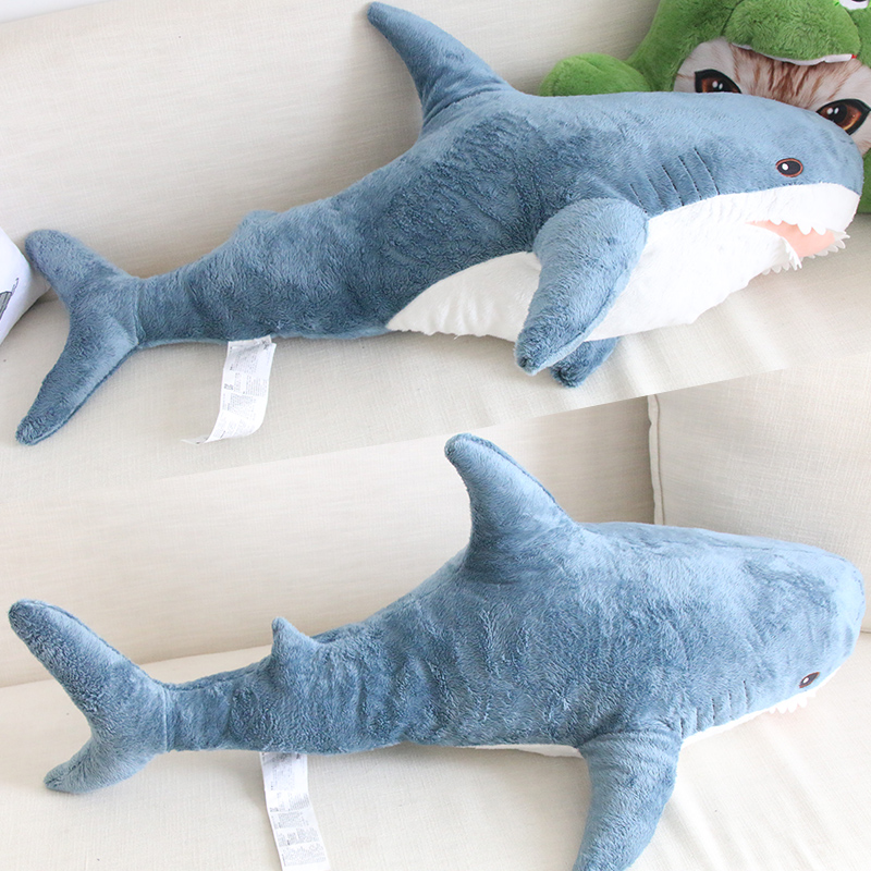 45-100cm Giant Cartoon Funny Shark Plush Doll Super Quality Soft Shark Pillow Simulation Shark Plush Toys Kids Christmas Gifts image