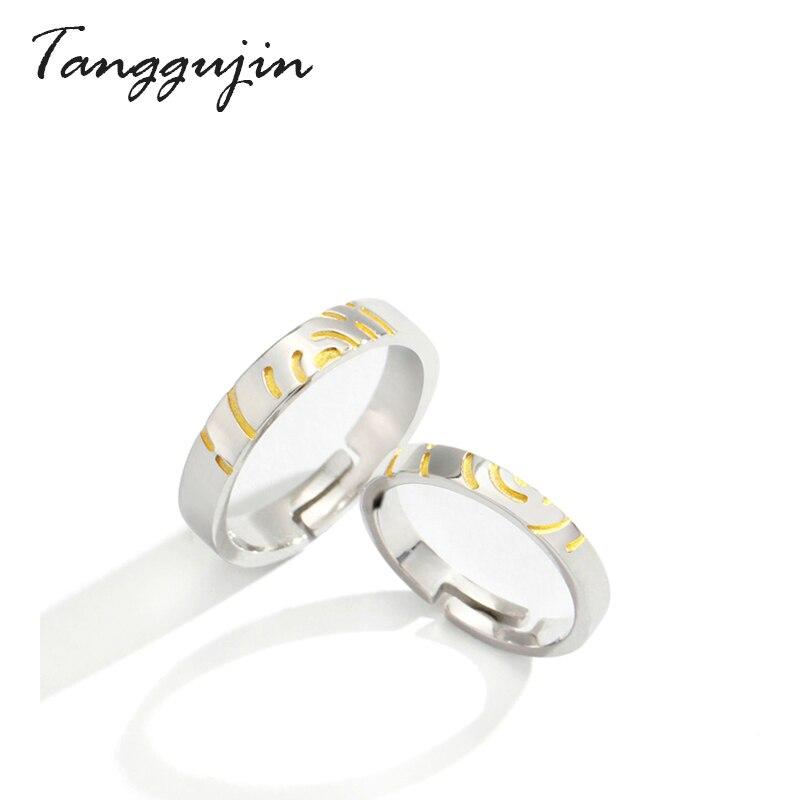 Tanggujin Casal Anel de Prata Esterlina 925 Anéis Ajustáveis Para Mulheres Dos Homens Amantes Simples Aliança de Casamento Jóias Anel de Esmalte