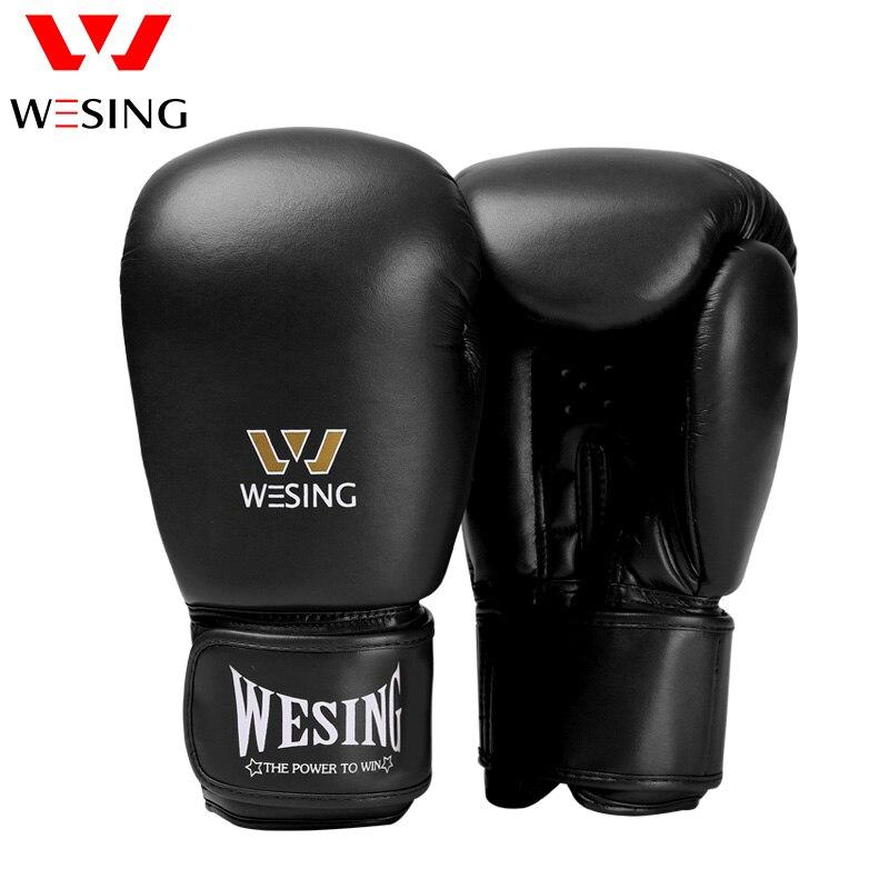 Luvas de Boxe Fibra de Couro Wesing Micro Adulto Luta Kickboxing Muay Thai Vermelho Azul Preto 8 10 12 14 16 oz