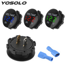 YOSOLO-Medidor de voltaje para coche y motocicleta, Mini voltímetro Digital, amperímetro, pantalla Led, DC 12V-24V