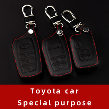 MOFAN Toyota car key case 3 key leather key ring protector For Camry Prado Reiz Highlander RAV4 Corolla Prius Crown Land Cruiser special leather car seat covers for toyota rav4 prado highlander corolla camry prius reiz crown yaris car accessories styling