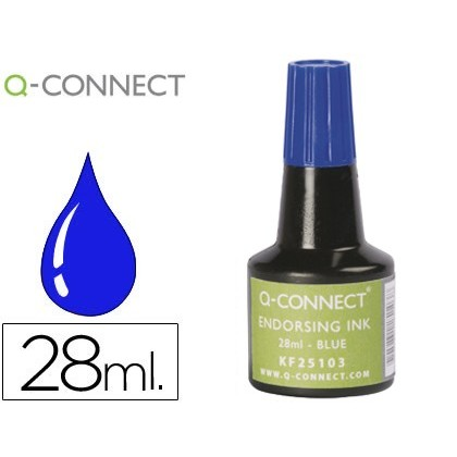 INK TAMPON Q-CONNECT BLUE-FLASK 28 ML 10 Units