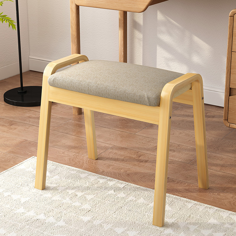 Makeup Stool Modern Wooden Cotton Linen Low Stools Living Room Sofa Ottoman Footstool Dressing Stool Change Shoe Bench Mx1016113