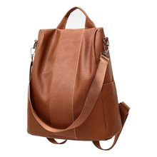 Women Female Anti-theft Backpack Classic PU Leather Solid Color Backpacks Canta Fashion Shoulder Bag Vintage Travel Rucksack(China)