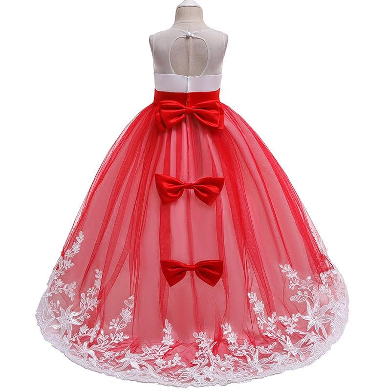 2020 Long trailing lace flower dress girls evening wedding birthday girls dress first communion princess costume dresss|Dresses|   - AliExpress