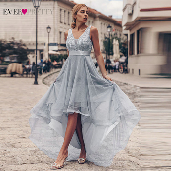 Sexy Grey Evening Dresses Ever Pretty Sequined Asymmetrical Double V-Neck Sleeveless Tulle Long Party Gowns Abendkleider 2021 1