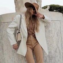 Женский костюм оверсайз на одной пуговице бежевое пальто с длинным