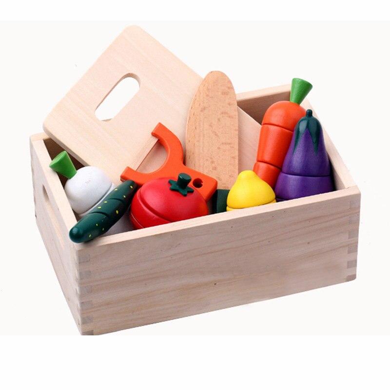 Brinquedos magnéticos de madeira da fatia do fruto do conjunto da segurança das crianças, brinquedos da cozinha do fruto ajustados