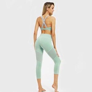Image 5 - GXQIL 2020 Palestra Abbigliamento Vestito di Forma Fisica Delle Donne Della Maglia di Yoga Set Donna Sportswear Dry Fit Vestiti Allenamento Femme Vestito Verde Rosa nuovo