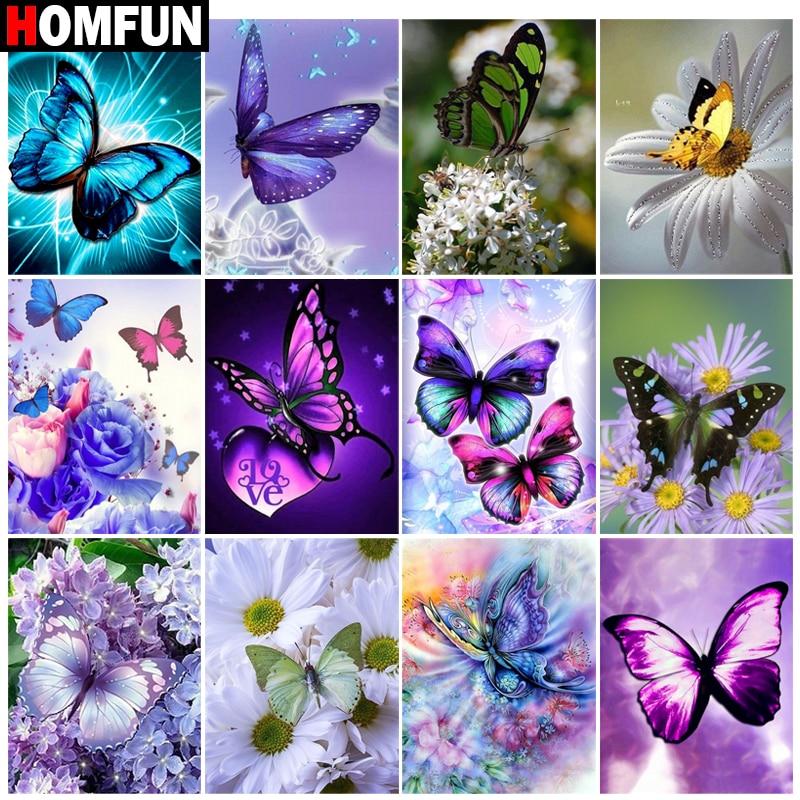 """HOMFUN bricolage 5d diamant peinture """"fleur papillon paysage"""" point de croix carré rond diamant broderie travail manuel strass Art"""