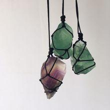 Pendentif pierre naturelle fluorite | Cristaux minéraux, adornos de cristal rugueux, reiki guérison pierres précieuses artesanato ornement