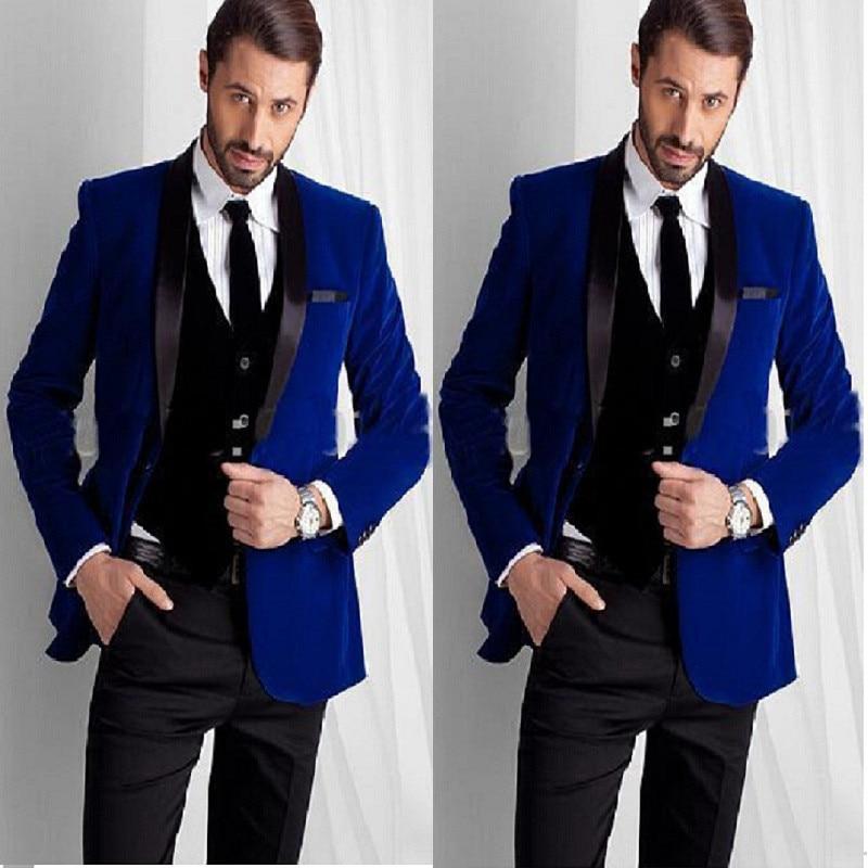 10 New Designed Royal Blue Velvet Groom Tuxedos groommens suitsBespoke One button Groom wedding suits for mensBestman's wedding suits