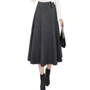 цена на Long High Waist Retro Plaid Woolen Skirt Mid-Length High Waist Plaid Expansion Skirt Large A- line Long Lattice Skirt 818H
