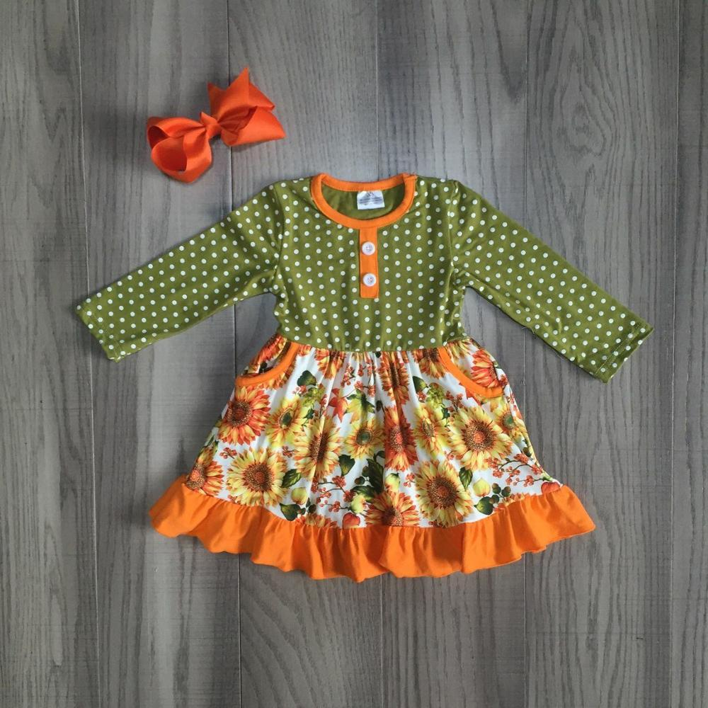 Image 3 - fall/winter baby girls clothes children mustard orange navy flower dress milk silk cotton ruffle boutique match bow knee length-in Clothing Sets from Mother & Kids