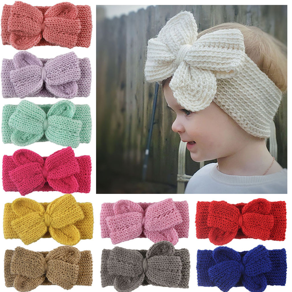 Toddler Kids Baby Boy Girl Solid Bow-tie Knotted Headband Headwear Accessories Multiple Color Selection Baby Cap With Bow-knot
