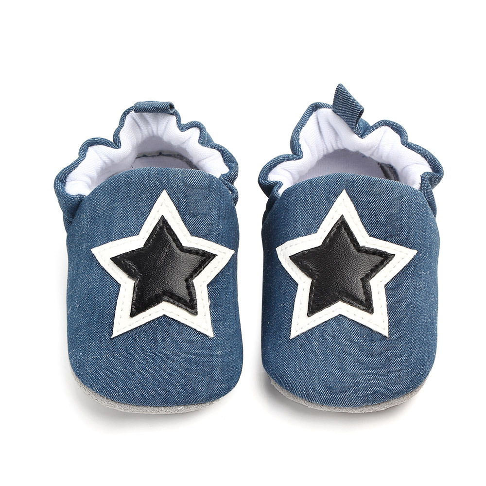 Brand New Newborn Baby Shoes First Walkers Spring Autumn Star Pattern Soft Sole Shoes Infant Cloth Crib Shoes 0-18 Months Mocc