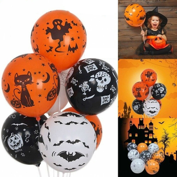 10pcs Balloons for Halloween Party Decoration Supplies Pumpkin Skull Spider Skeleton Latex Inflatable Orange Black