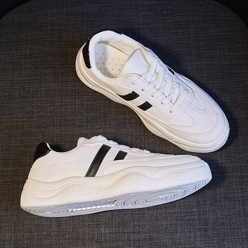 Women PU Casual Shoes Women Flats Rubber Lace-up Fashion Ladies Spring/Autumn Shoes Designer White Sneakers Zapatos De Mujer