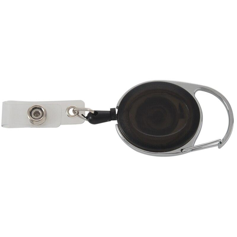 SEWS-Badge Holder Winder With Belt Clip Retractable Carabiner Id Card Visit Card Holder Roller Black