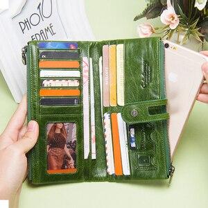 Image 3 - Зеленый красный клатч модный женский кошелек из натуральной кожи, женские длинные кошельки с отделением для карт, с отделение для монет на молнии для iPhone 8 Plus