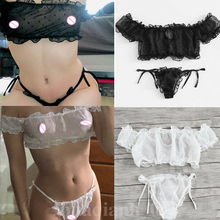 New Womens Kawaii Sexy/Sissy Lingerie Lace Babydoll G-String Thong Underwear Nightwear Casual