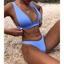 Bikini 2021 mikro seksi mayo kadınlar Push Up mayo iki parçalı Bikini seti katı Bather mayo mayo kadın