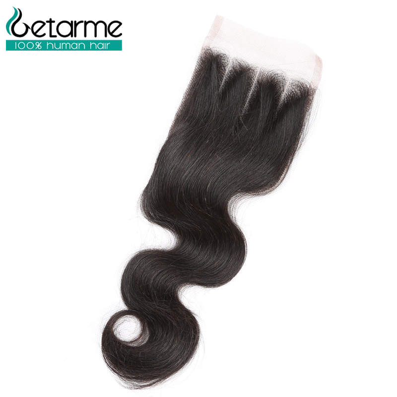 Getarme Brazilian Closure Body Wave 4*4 Lace Closure Free Middle Non Remy Lace Closures Human Hair Brazilian Hair Body Wave