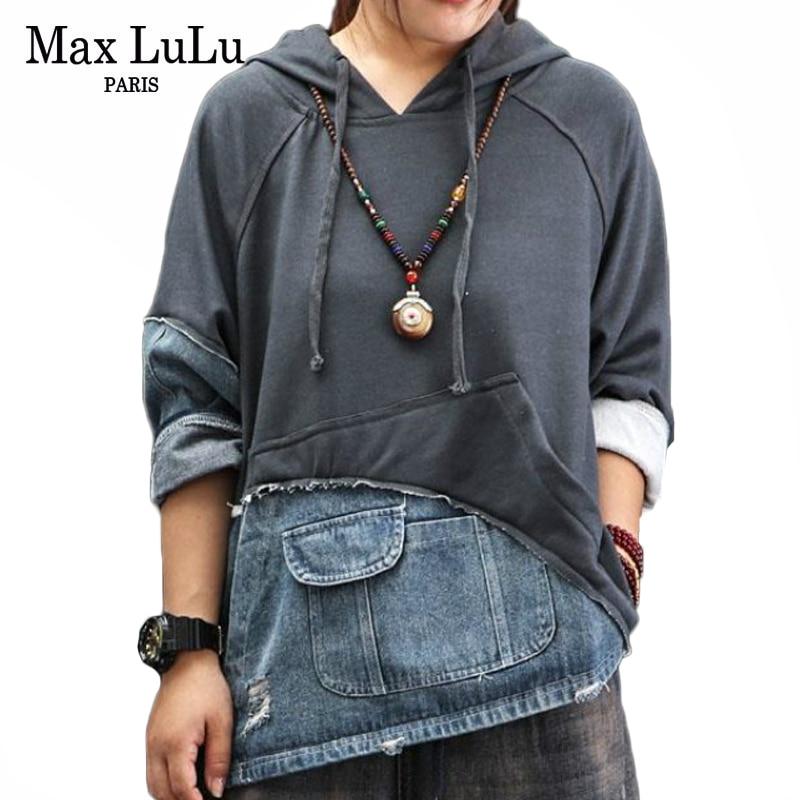 Max LuLu 2019 Fashion Korean Style Streetwear Ladies Autumn Clothes Womens Denim Hooded Hoodies Vintage Female Punk Sweatshirts
