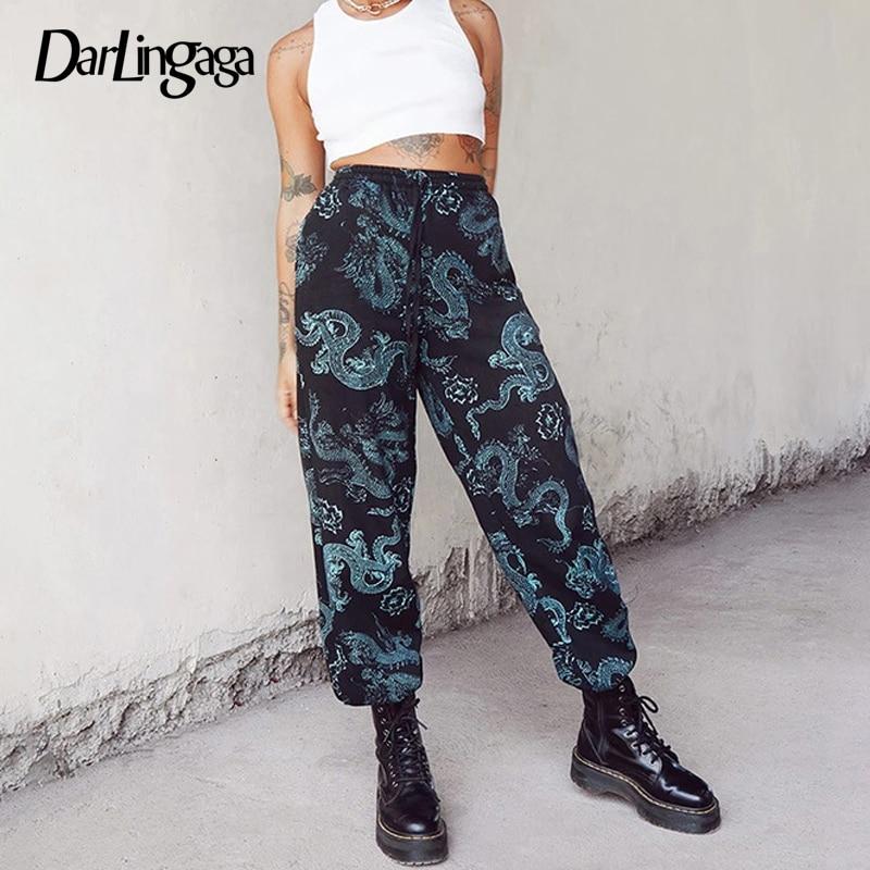 Darlingaga Streetwear Dragon Print High Waist Pants Sweatpants Women Chinese Style Drawstring Bagg Pants Trousers Fashion Capris