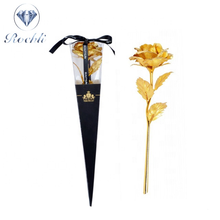 Mothers day gift Wholesale long stem Wedding decoration artificial flower Valentine's day gift 24k gold rose 24k gold foil rose