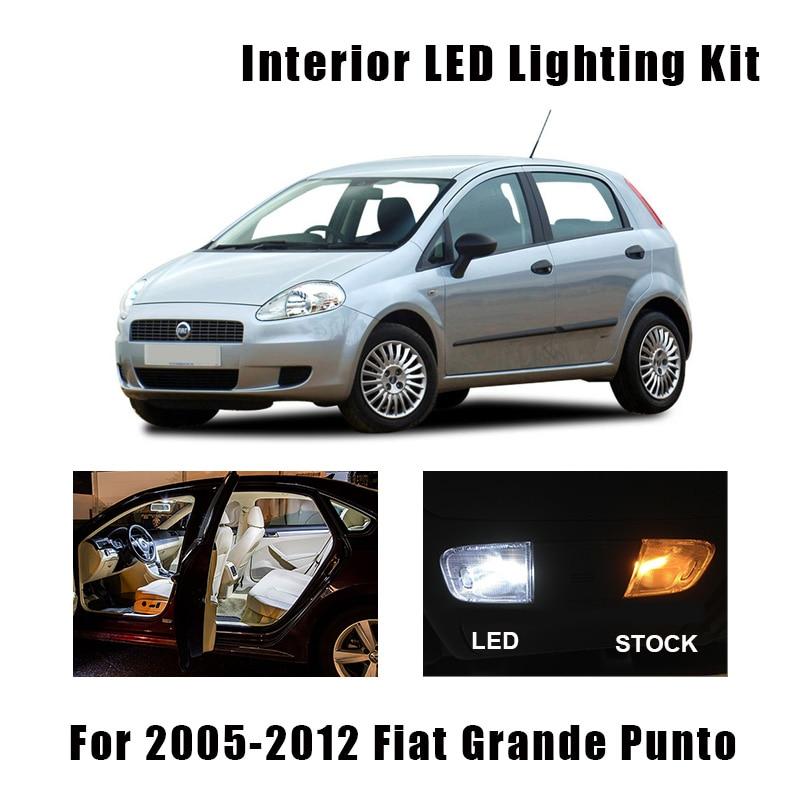 10pcs White Ice Blue Canbus LED Car Interior Reading Ceiling Lamp Dome Map Trunk Light Bulbs Kit For Fiat Grande Punto 2005-2012