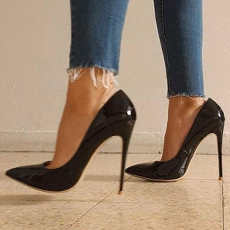 Escarpins noirs 12cm escarpins argentés talons hauts chaussures de mariage escarpins nus chaussures de mariée Estiletos Mujer 2019 pompes pour femmes