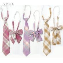 Lady Girl Sweet Ice-Cream Color Plaid 100%Cotton Necktie Bowtie Set Party Uniform Cosplay Women Tie Gift Cravat School Accessory