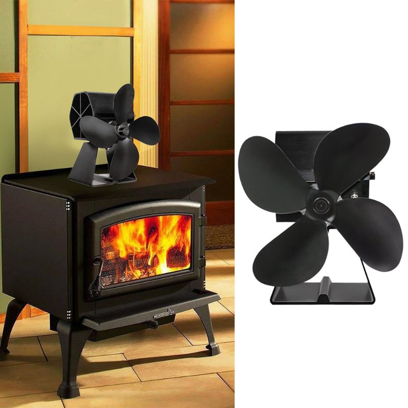 Heat Self Powered Fireplace Stove Fan 4 Blades Silent For Large Room Wood Log