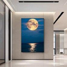 Style nordique paysage photos imprimer mer et lune toile haletant peinture à l'huile moderne mur Art affiche dans salon décor maison