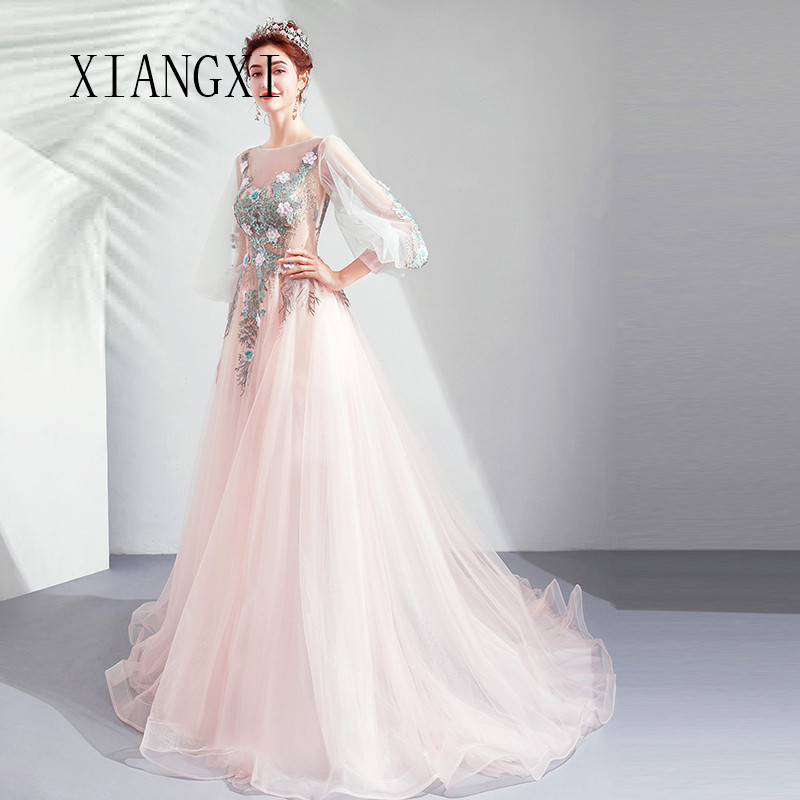 Vestido De Festa Champagne Evening Dress Tulle A-Line O-Neck Lace Appliques Evening Dresses Long Formal Party Gowns abendkleider