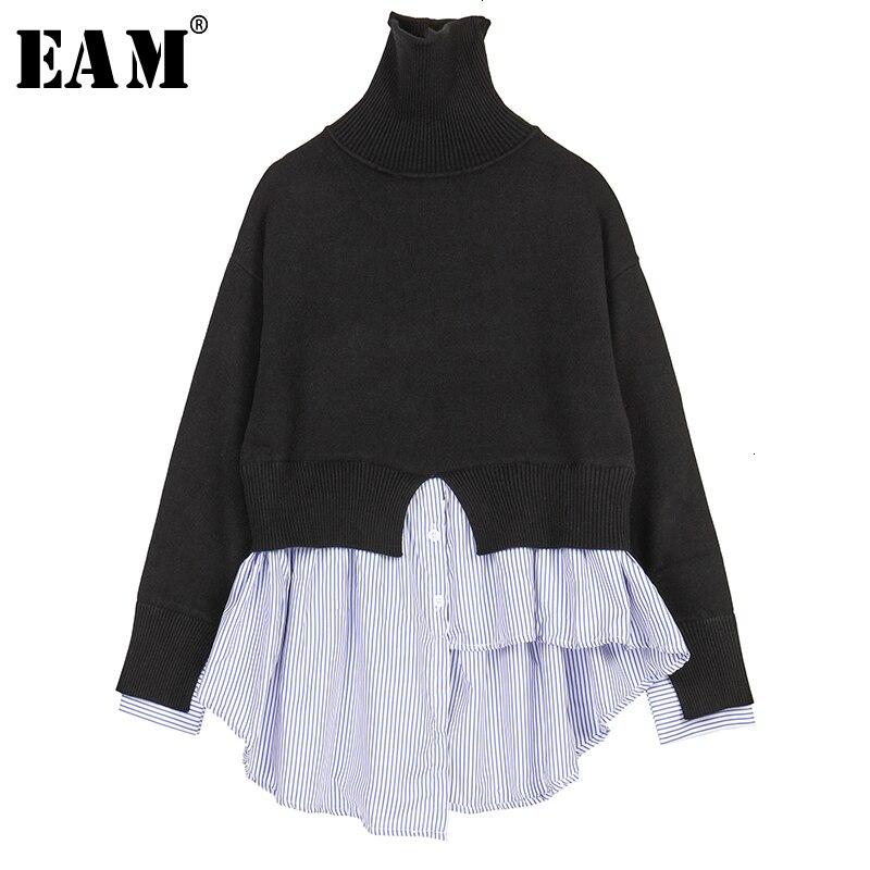[EAM] Striped Asymmetrical Knitting Sweater Turtleneck Loose Fit Long Sleeve Women Pullovers New FashionAutumn Winter 2020 1K635
