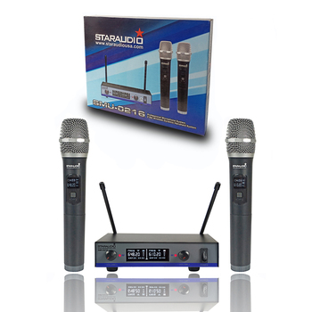 STARAUDIO 2 Channel UHF Handheld Wireless Microphone System 2CH Stage Church KTV Bar Party Club Karaoke Microphone SMU-0216A