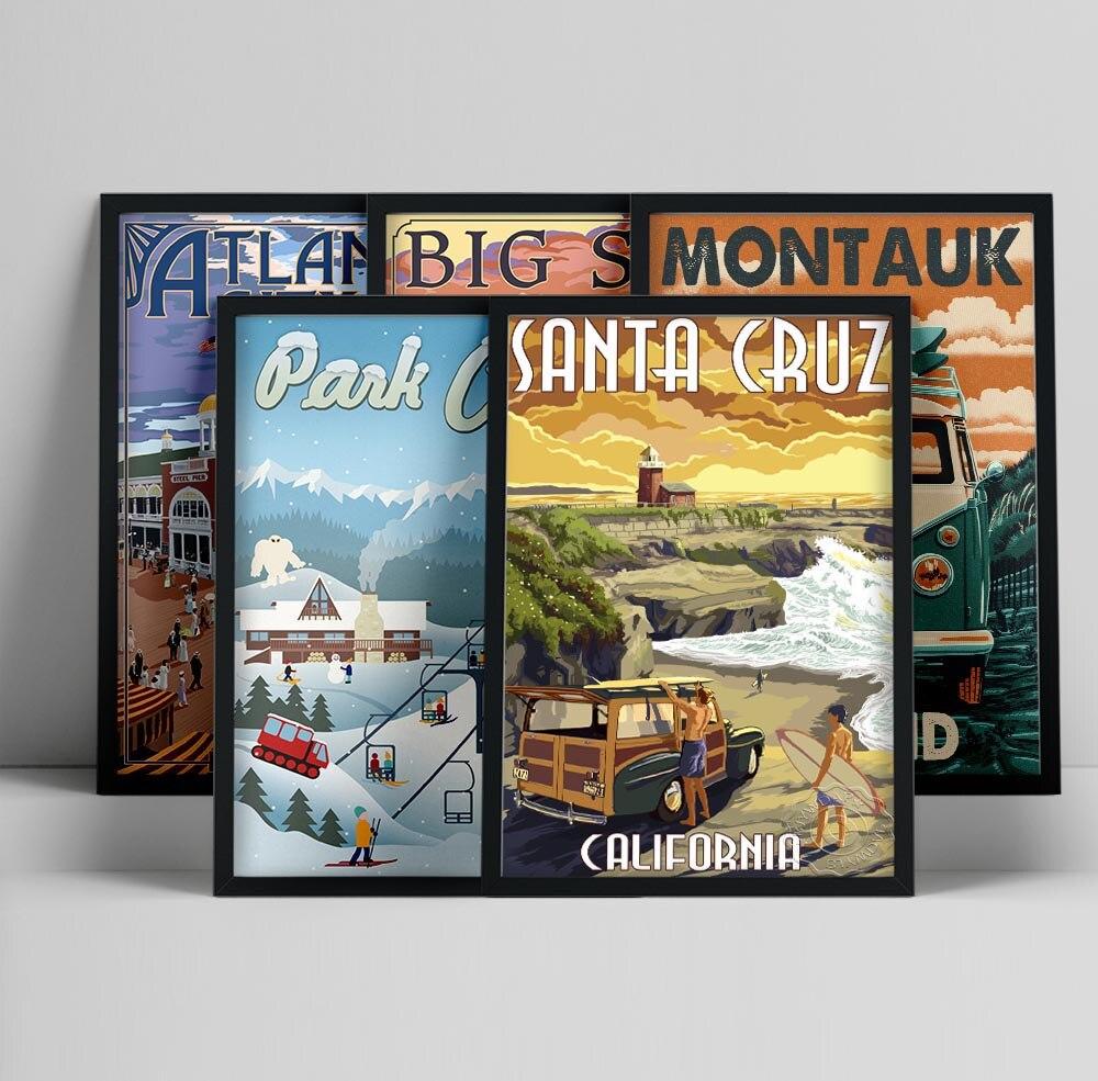 Atlantic City Austin Montana California Montauk New Mexico Utah Vintage Travel Cities Landscape Canvas Posters Wall Art Picture